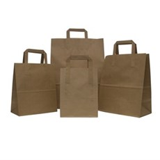 Recycled Brown Carrier Bags with Flat Handles