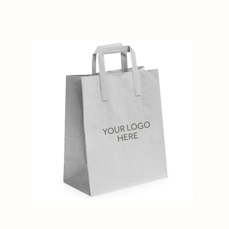 White Printed Carrier Bags with External Flat Handles