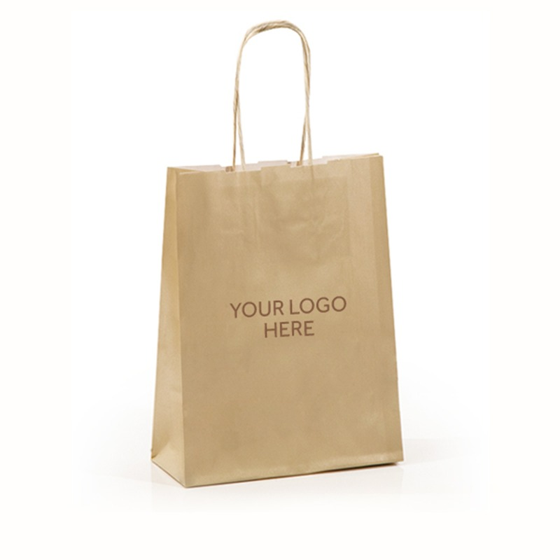 Ivory Printed Paper Carrier Bags with Twisted Handles
