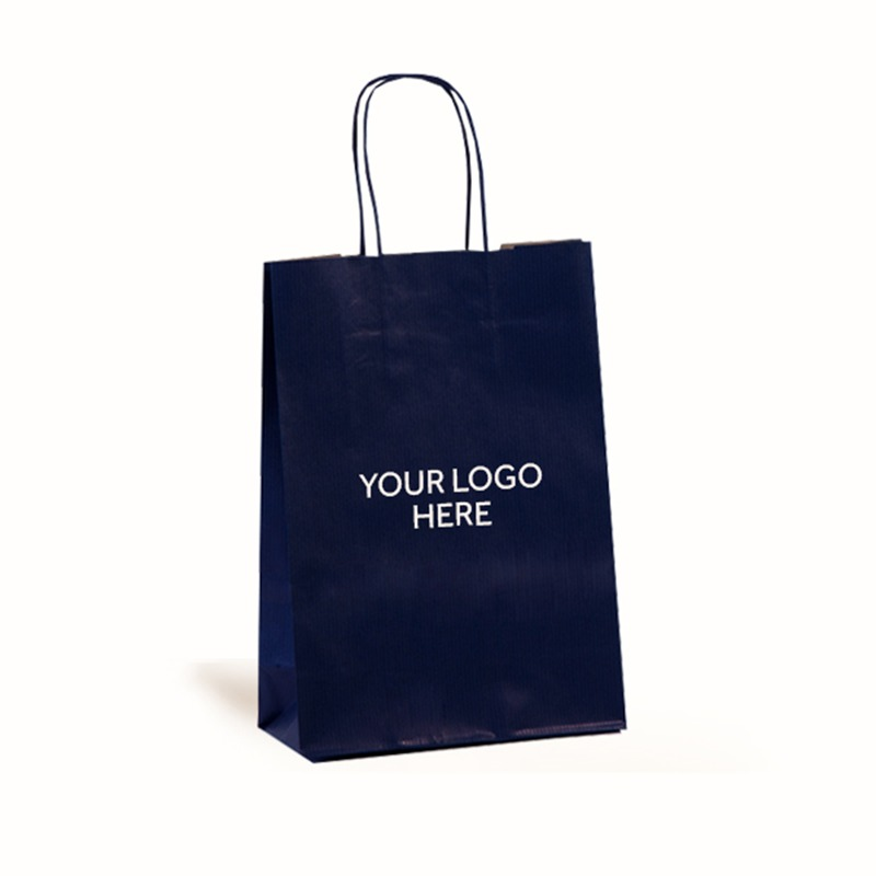 Dark Blue Printed Paper Carrier Bags with Twisted Handles