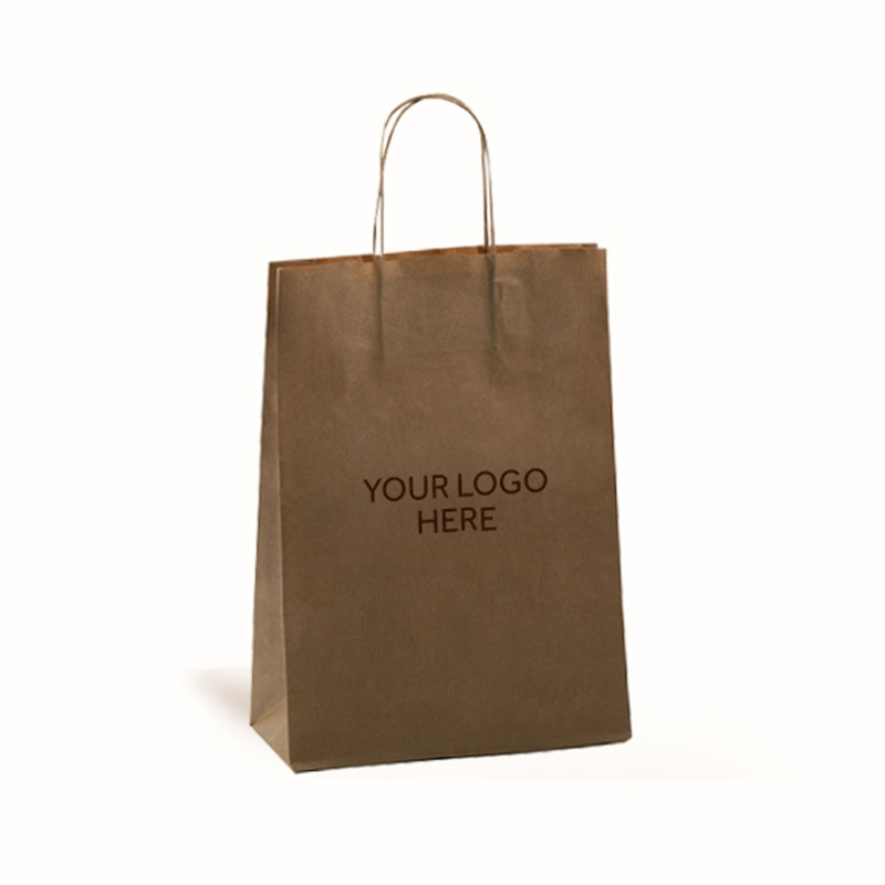 Brown Printed Paper Carrier Bags with Twisted Handles