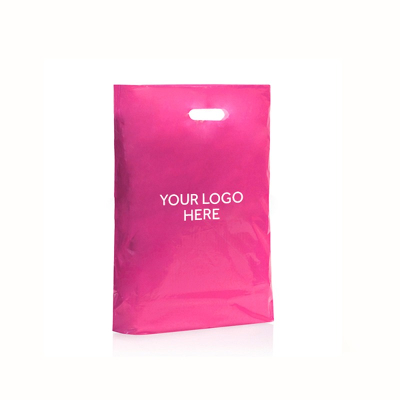 Shocking Pink Printed Varigauge Plastic Carrier Bags