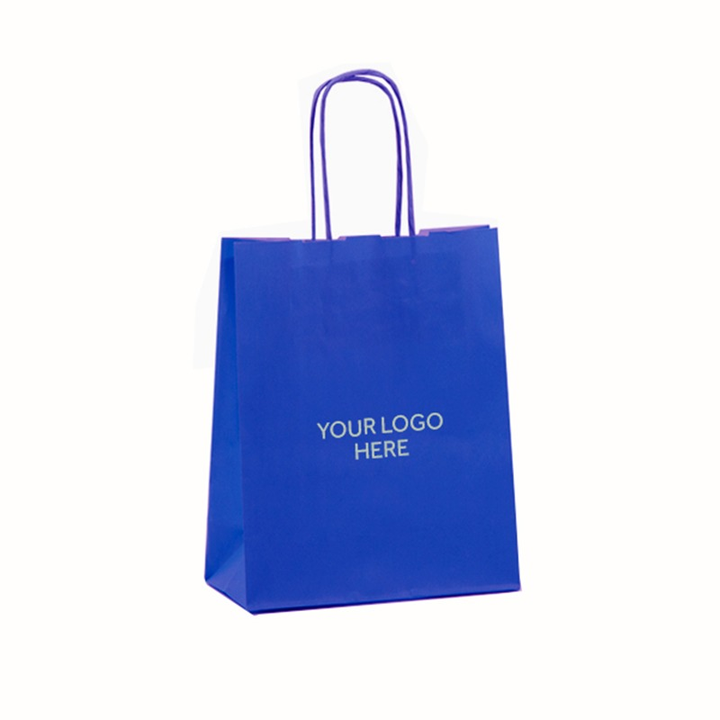 Ocean Blue Printed Paper Carrier Bags with Twisted Handles