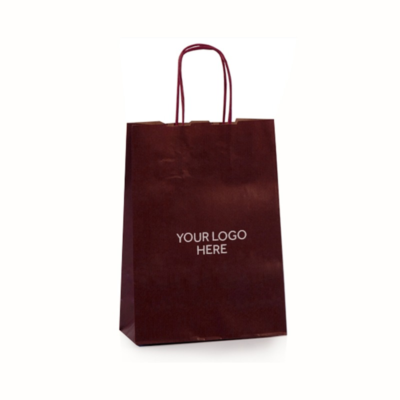Burnt Red Printed Paper Carrier Bags with Twisted Handles