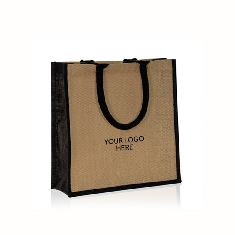 Natural Printed Jute Bags with Black Trim