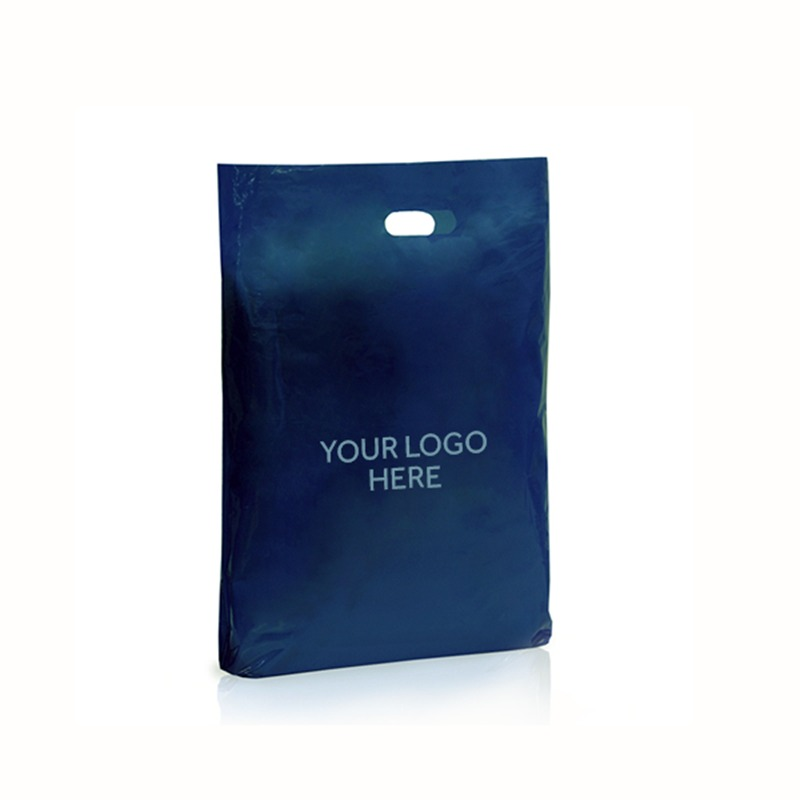 Navy Blue Printed Varigauge Plastic Carrier Bags