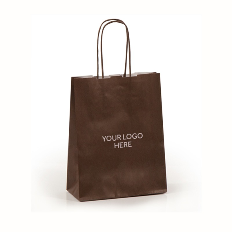 Chocolate Brown Printed Paper Carrier Bags with Twisted Handles